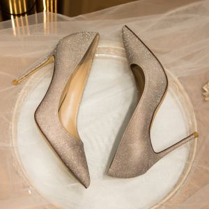 Sparkly Gold Wedding Shoes 2020 Leather Sequins 10 cm Stiletto Heels Pointed Toe Wedding Pumps