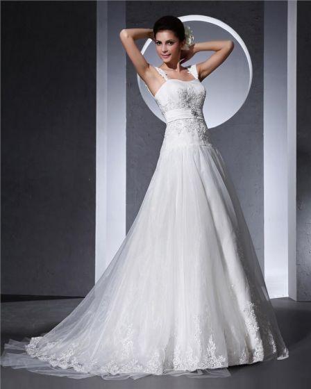 Shoulder Straps Applique Floor Length Organza Woman A Line Wedding Dress