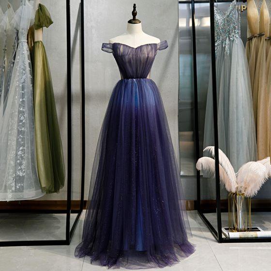 Schöne Marineblau Farbverlauf Abendkleider 2020 A Linie Off Shoulder Kurze Ärmel Rückenfreies Lange Festliche Kleider