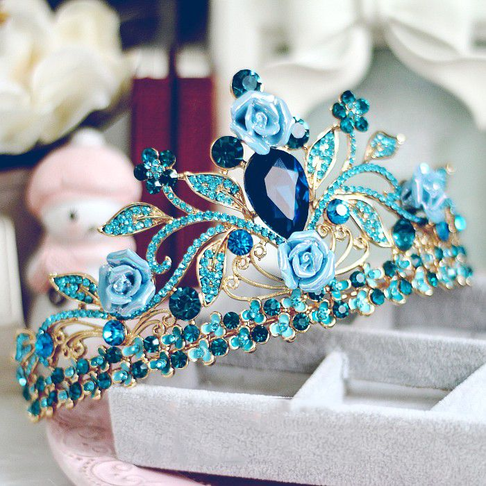 Sparkly 2017 Royal Blue Crystal Rhinestone Metal Tiara Bridal Jewelry