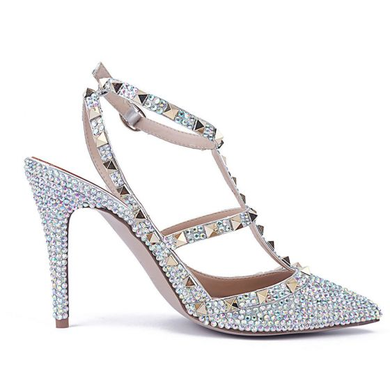 Sexy Multi-Colors Evening Party Rhinestone Womens Sandals 2020 Leather Rivet 10 cm Stiletto Heels Pointed Toe Sandals