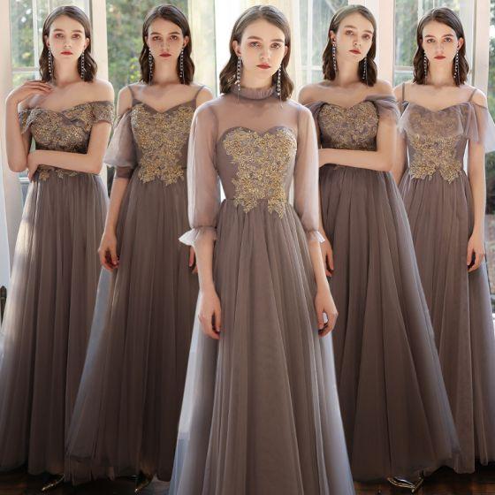 Erschwinglich Braun Brautjungfernkleider 2020 A Linie Perlenstickerei Lange Rüschen Kleider Für Hochzeit