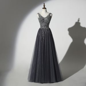 Sparkly Grey Black Evening Dresses  2019 A-Line / Princess V-Neck Handmade  Beading Sequins Sleeveless Backless Floor-Length / Long Formal Dresses