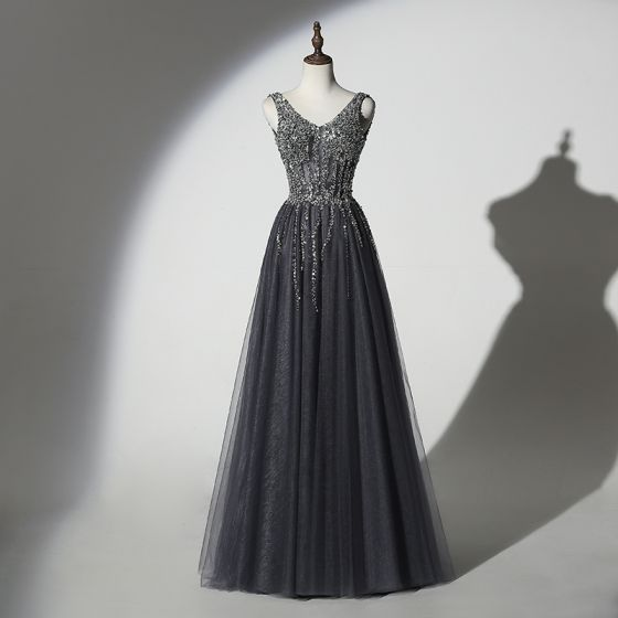 Sparkly Grey Black Evening Dresses  2019 A-Line / Princess V-Neck Handmade  Beading Sequins Sleeveless Backless Floor-Length / Long Formal Dresses