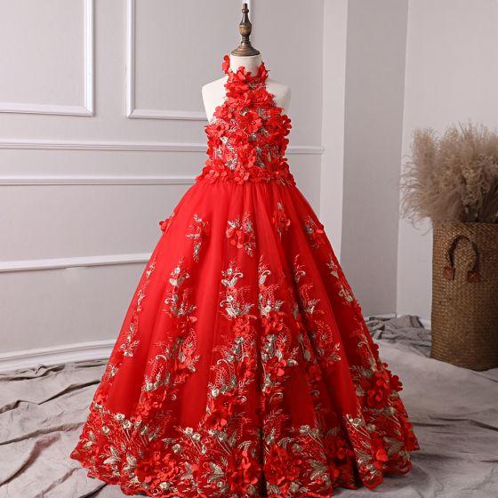 Schöne Rot Blumenmädchenkleider 2019 A Linie Neckholder Ärmellos Applikationen Blumen Perle Lange Rüschen Rückenfreies Kleider Für Hochzeit