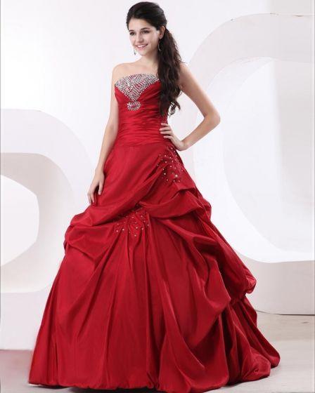 Ball Gown Taffeta Ruffle Strapless Beading Floor Length Quinceanera Prom Dresses