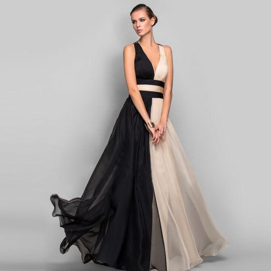 Two Tone Color block Chiffon Maxi Dresses 2018 Empire V-Neck Sleeveless Floor-Length / Long Ruffle Backless Women's Clothing