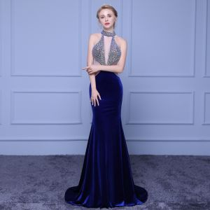 Modern / Fashion Navy Blue Evening Dresses  2018 Trumpet / Mermaid High Neck Tulle Backless Beading Rhinestone Evening Party Formal Dresses