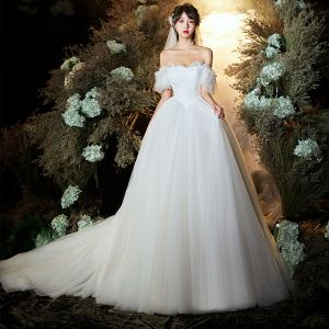 Chic / Beautiful Ivory Wedding Dresses 2020 A-Line / Princess Off-The-Shoulder Puffy Short Sleeve Backless Appliques Lace Ruffle Sweep Train