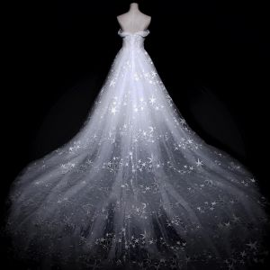 Amazing / Unique White Wedding Dresses 2018 A-Line / Princess Off-The-Shoulder Short Sleeve Backless Star Tulle Ruffle Royal Train