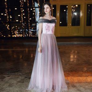 Elegant Candy Pink Evening Dresses  2020 A-Line / Princess Off-The-Shoulder Short Sleeve Glitter Tulle Appliques Flower Beading Floor-Length / Long Ruffle Backless Formal Dresses
