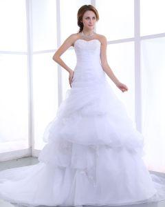 Kjaereste Beading Ruffles Organza Kapell Tog En Linje Brudekjoler Bryllupskjoler
