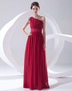 Mousseline De Soie Etage Robe Plissee En Pente De Manche De Mode De Longueur De Demoiselle D'honneur