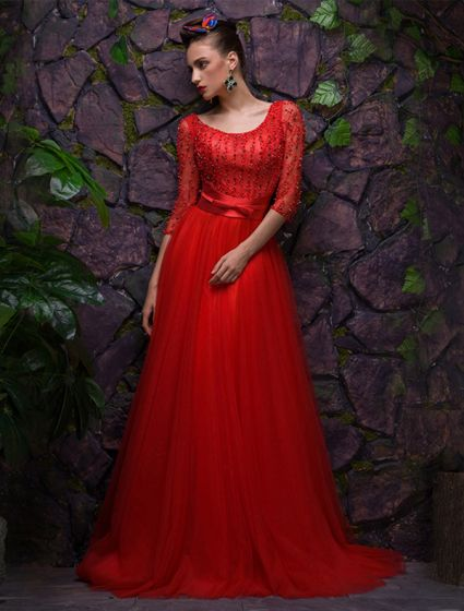 2016 Sexy Scoop Neckline Backless Red Tulle Evening Dress With Sash