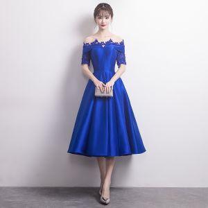 Moda Azul Real Traspasado de fiesta Vestidos de graduación 2017 A-Line / Princess Scoop Escote 1/2 Ærmer Apliques Con Encaje Rebordear Crystal Té De Longitud Sin Espalda Vestidos Formales