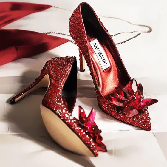 Charming Burgundy Wedding Leather Pumps 2020 Crystal Rhinestone 9 cm Stiletto Heels Pointed Toe Pumps