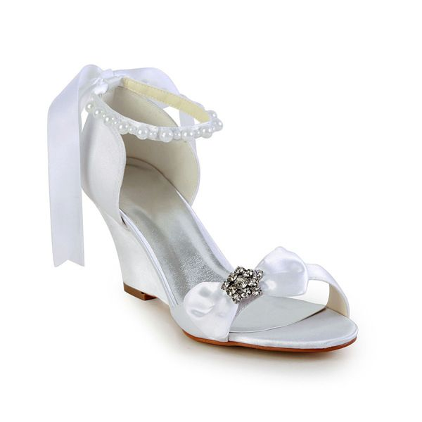 Elegant Open Toe Mid Wedges White Satin Sandals Bridal Wedding Shoes With Bow Rhinestone Pearl