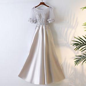 Moderne / Mode Argenté Robe De Bal 2017 Princesse Encolure Dégagée 1/2 Manches Fermeture éclair Appliques Fleur Thé Longueur