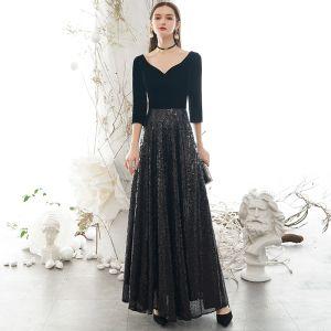Classy Black Evening Dresses  2020 A-Line / Princess V-Neck Sequins 1/2 Sleeves Backless Floor-Length / Long Formal Dresses