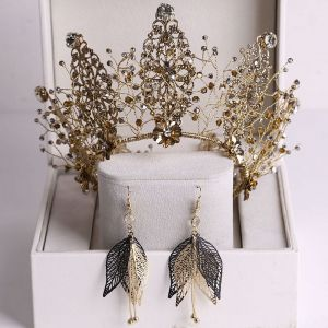 Vintage Barok Bronzen Bruidssieraden 2020 Legering Rhinestone Kralen Tiara Oorbellen Huwelijk Accessoires