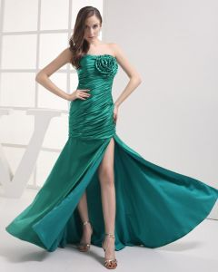Stylish Strapless Floor Length Flower Pleated Imitation Silk Women Prom Dress