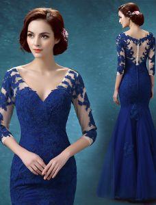 Piękne Suknie Wieczorowe 2016 Aplikacja Koronki Niebieski Royal Tiulu Bez Pleców Sukienki Wizytowe