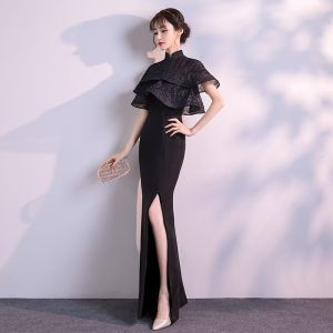 Chinese style Black Evening Dresses  2019 Trumpet / Mermaid High Neck Short Sleeve Split Front Floor-Length / Long Formal Dresses