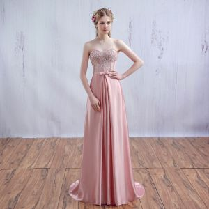 Chic / Beautiful Pearl Pink Evening Dresses  A-Line / Princess Lace Strapless Corset Floor-Length / Long 2017 Appliques Backless Beading Rhinestone Evening Party Formal Dresses