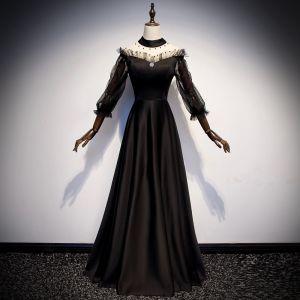Vintage Schwarz Durchsichtige Satin Abendkleider 2019 A Linie Stehkragen Geschwollenes 3/4 Ärmel Perle Lange Festliche Kleider