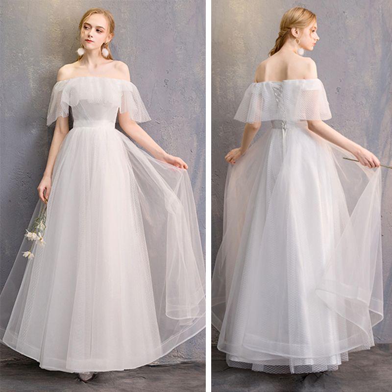 Niedrogie Kość Słoniowa Sukienki Dla Druhen 2019 Princessa Długie Wzburzyć Bez Pleców Sukienki Na Wesele