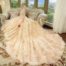 Luxury / Gorgeous Champagne Wedding Dresses 2018 Ball Gown Off-The-Shoulder Short Sleeve Backless Rhinestone Glitter Royal Train Ruffle