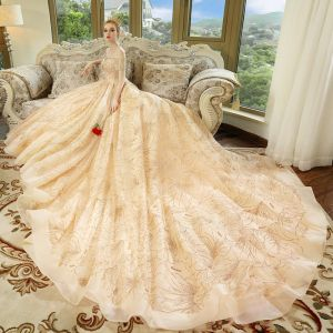Luxury / Gorgeous Champagne Wedding Dresses 2018 Ball Gown Off-The-Shoulder Short Sleeve Backless Rhinestone Glitter Royal Train Ruffle