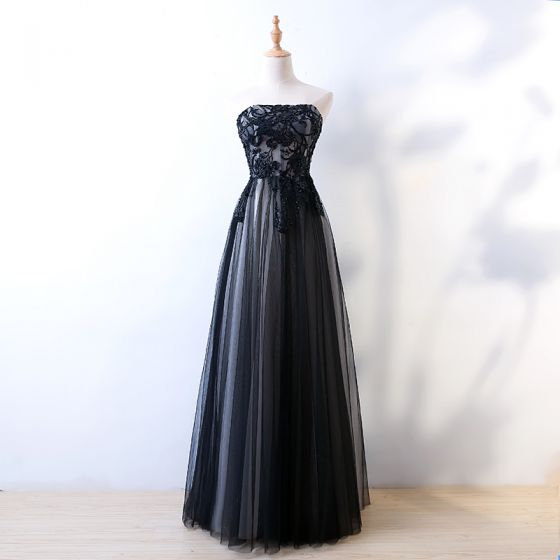 Chic / Beautiful Black Evening Dresses  2017 A-Line / Princess Sequins Lace Flower Beading Strapless Backless Sleeveless Floor-Length / Long Prom