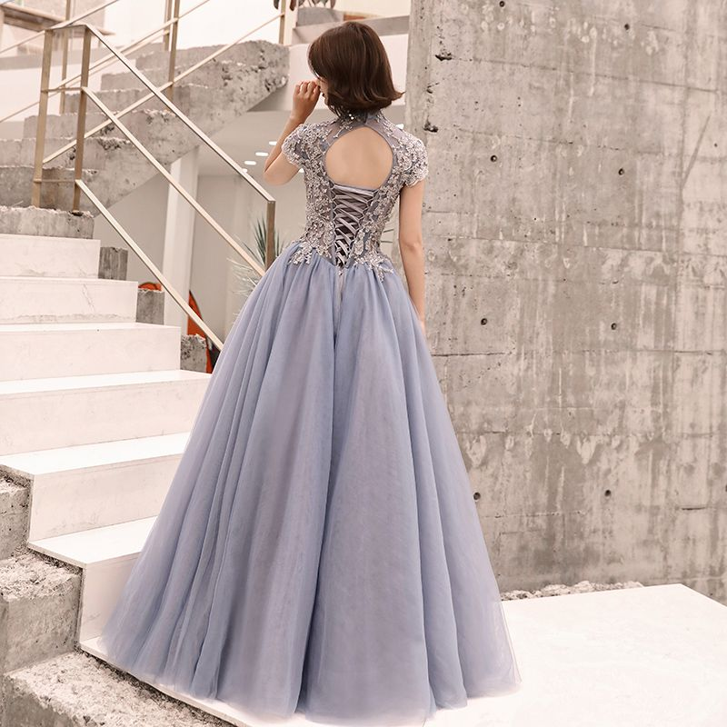 Elegant Pool Blue Evening Dresses  2019 A-Line / Princess High Neck Sequins Lace Flower Short Sleeve Backless Floor-Length / Long Formal Dresses