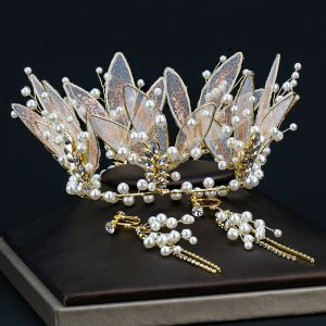 Uroczy Złote Tiara Kolczyki Biżuteria Ślubna 2020 Stop Perła Rhinestone Ślub Akcesoria