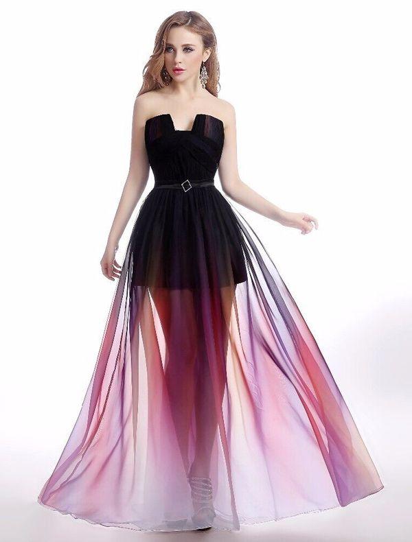 Robe De Cocktail Sexy De Fête 2016 Bustier Gradient Couleur Chiffon Robe Transparente