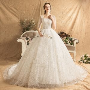Chic / Beautiful Ivory Wedding Dresses 2019 A-Line / Princess Square Neckline 1/2 Sleeves Backless Beading Glitter Sequins Chapel Train Ruffle