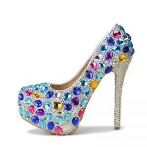 Bling Bling Multi-Colors 14 cm Pumps Beading Rhinestone High Heels Round Toe Prom Pumps 2018