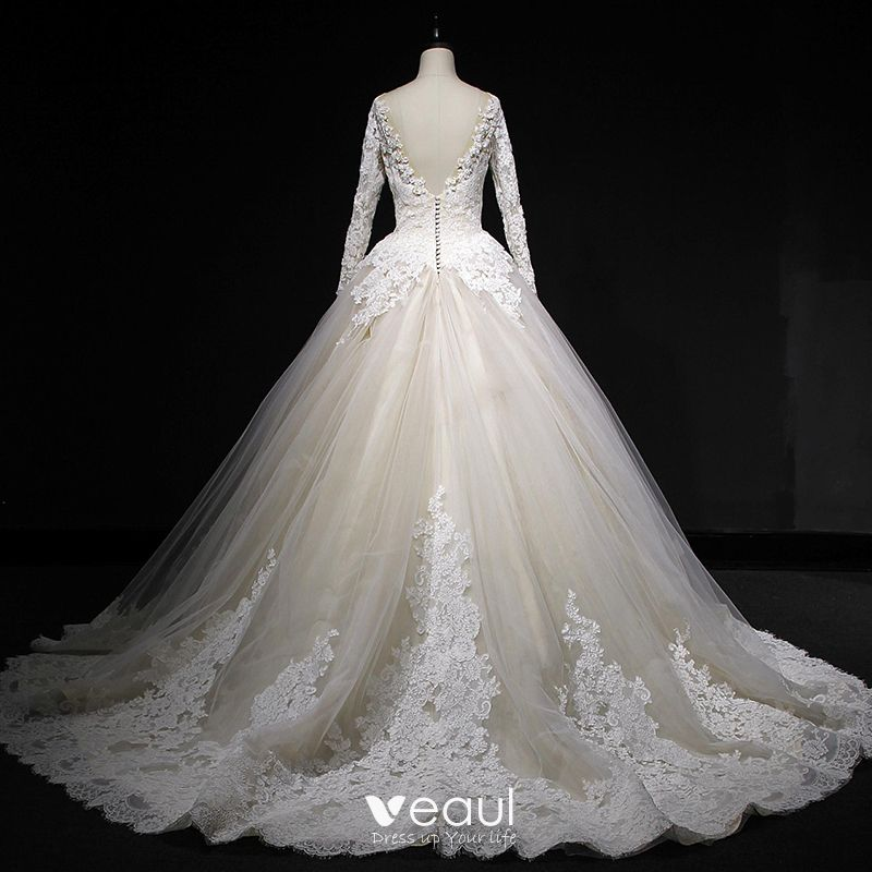 Classic Champagne Winter Wedding Dresses 2018 Ball Gown See Through Scoop Neck Long Sleeve Backless Appliques Lace Cathedral Train Ruffle,Formal Dresses For Wedding In Pakistan