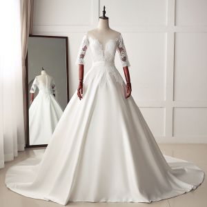 Classic Ivory Wedding Dresses 2019 A-Line / Princess Scoop Neck Lace Flower 1/2 Sleeves Chapel Train