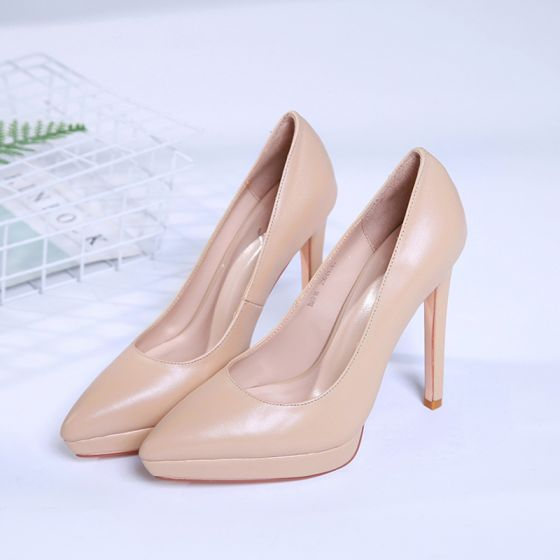 Modest / Simple Nude Office Pumps 2019 Leather 12 cm Stiletto Heels Pointed Toe Pumps