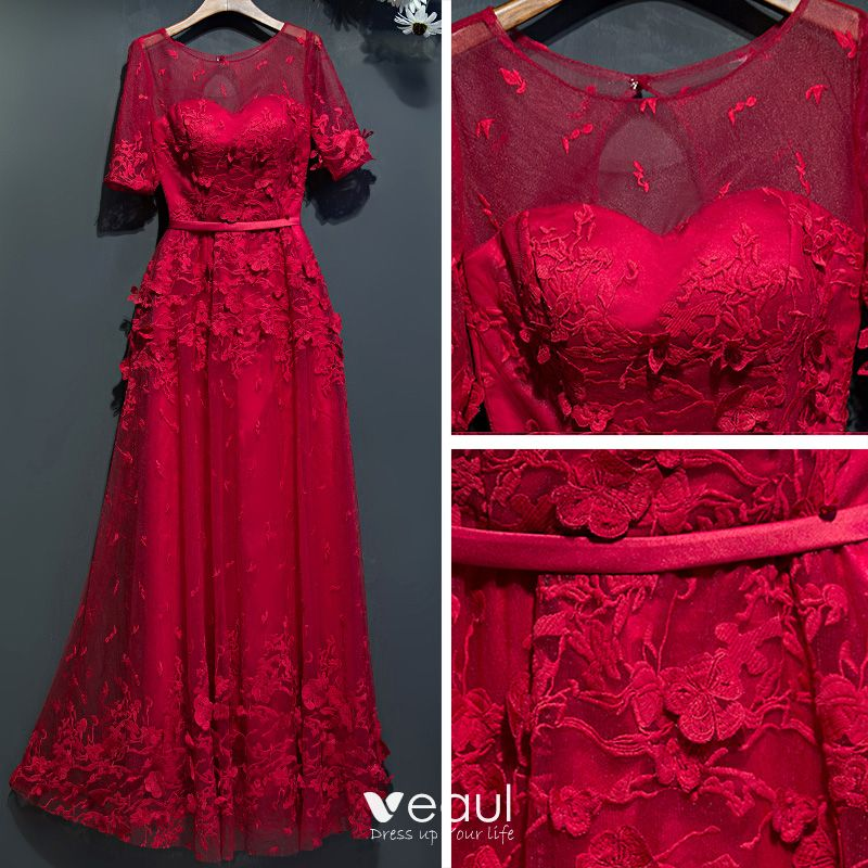 Chic / Beautiful Red Formal Dresses 2017 Lace Flower Strappy 1/2 Sleeves Ankle Length Empire Evening Dresses