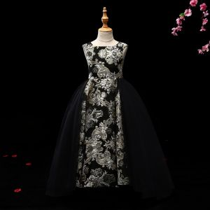 Chic / Beautiful Black Gold Flower Girl Dresses 2017 Ball Gown Glitter Flower Scoop Neck Sleeveless Floor-Length / Long Wedding Party Dresses
