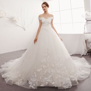 Chic / Beautiful Ivory Wedding Dresses Crossed Straps A-Line / Princess Off-The-Shoulder Pearl Lace Flower Appliques Sequins Short Sleeve Backless Cathedral Train
