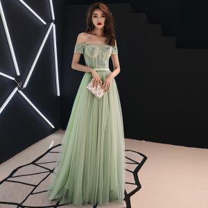 Eleganckie Szałwia Zielony Sukienki Na Bal 2019 Princessa Przy Ramieniu Z Koronki Kwiat Aplikacje Frezowanie Rhinestone Kokarda Kótkie Rękawy Długie Sukienki Wizytowe