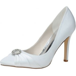 Chic / Beautiful White Casual Satin Pumps 2020 Rhinestone 9 cm Stiletto Heels Pointed Toe Pumps