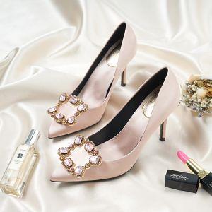 Chic / Belle Champagne Chaussure De Mariée 2018 Faux Diamant Cuir 9 cm Talons Aiguilles À Bout Pointu Mariage Escarpins