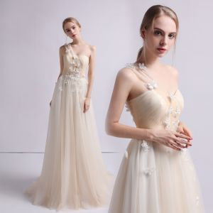 Romantic Champagne Beach Wedding Dresses 2019 A-Line / Princess One-Shoulder Sleeveless Backless Butterfly Appliques Lace Beading Sweep Train Ruffle