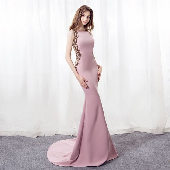 Stylowe / Modne Różowy Perłowy Sukienki Wieczorowe 2018 Syrena / Rozkloszowane Kwadratowy Dekolt Kótkie Rękawy Frezowanie Cekiny Trenem Sąd Bez Pleców Sukienki Wizytowe