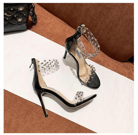Gennemsigtig Sexet Sorte Streetwear Nitte Sandaler Dame 2020 Læder 10 cm Stiletter Peep Toe Sandaler